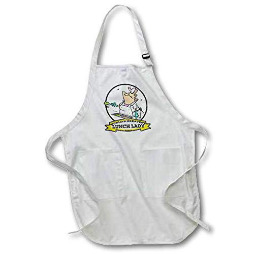 3dRose apr_103323_1 Funny Worlds Greatest Lunch Lady Cartoon Full Length Apron with Pouch Pockets, 22 by 30-Inch, White, with Pockets