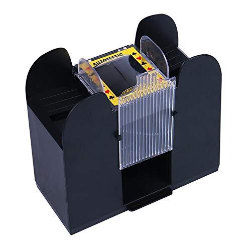Somedays Kartenmischmaschine für 6 Decks, Elektrische Mischmaschine als Kartenmischgerät batteriebetrieben zum Mischen von Karten beim Pokern, Rommé und Skat auf Knopfdruck Karten sortieren, schwarz