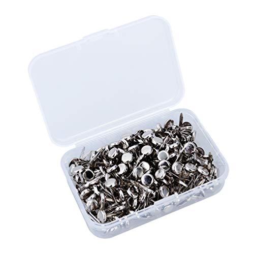 HEALLILY Mini clavitos metal brad sujetador de papel redondo con caja de almacenamiento para diy scrapbooking craft 200pcs (plata)