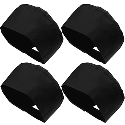 4 Pack Unisex Chef Hats Adjustable Kitchen Cooking Caps with Breathable Mesh Top Black