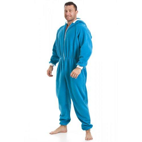 Herren Schlafanzug-Overall aus Fleece - Mit Taschen - Blau - Größen S-5XL XXXXL