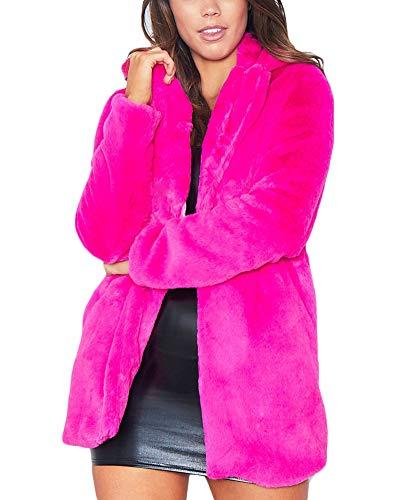 Quge Mujer Abrigo De Pelo Chaqueta Invierno Abrigo De Piel Sintética Chaqueta La Solapa Fur Jacket Rose S