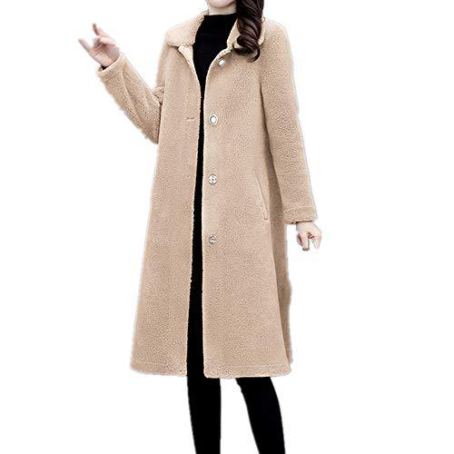 Woolen Coat Mujer Medio y Largo Estilo Shearing Piel de Oveja y Lana Integrado Cabello de Cordero