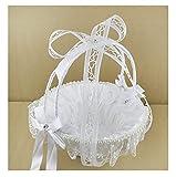 Joyero para mujer, cesta blanca, asa desmontable, pétalos de flores, pequeños objetos, regalos para bodas, bautizos