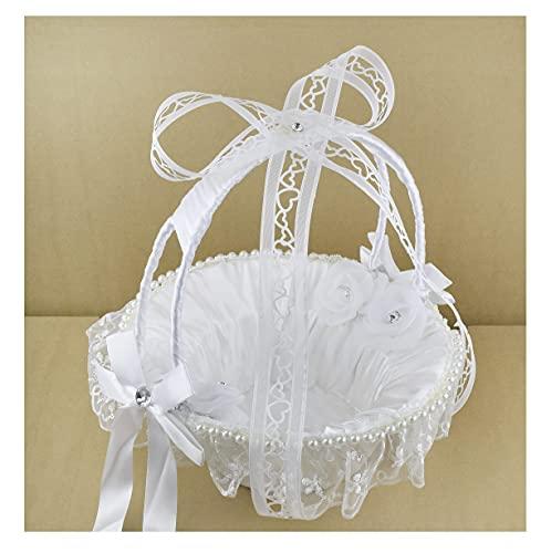bijoux feminin Panier Blanc Pétales de Fleurs Corbeille Cadeaux invités Accessoires Mariage Fiançailles Baptême Satin & Dentelle Anse Détachable