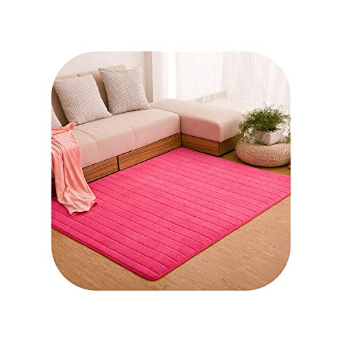 Fairy-Margot Area Rugs Bedroom| Bedroom Living Room Rugs 160 * 200 Solid Stripe Carpet Coral Velvet Carpet Quilted Area Rug Morden Carpet M Large Rugs-ROSE RED-Customize