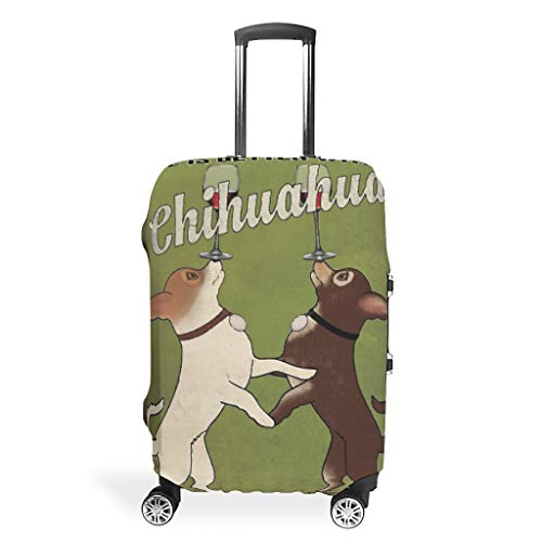 Chihuahua Print Vintage Style multiple types Travel Luggage Suitcase Cover Washable 18/24/28/32 Inch for Travel dog white s (19-21 inch)