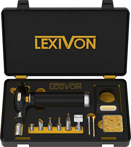 LEXIVON Butane Torch Multi-Function Kit | Premium Self-Igniting Soldering Station with Adjustable Flame | Pro Grade 125-Watt Equivalent (LX-771)