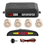 Jinghengrong Sensor de Aparcamiento LED Set de vagones de visualización Trasera 4 Que invierte el estacionamiento de Alarma Copia de Seguridad automática del Sistema de Alerta, Oro