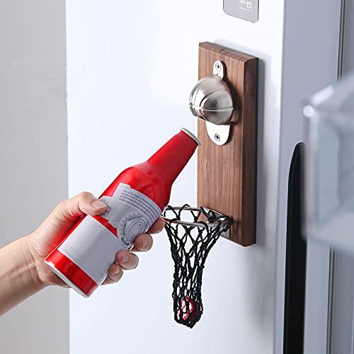 Catnot Abrebotellas de cerveza de baloncesto con red de recogida, abrebotellas montado en la pared, abridor de botellas de cerveza de baloncesto con tablero magnético