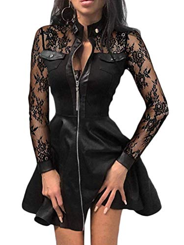 Minetom Lederkleid Damen Sexy Kleid V-Ausschnitt Spitze Faltenrock Reißverschluss A-Linie Langarm Patchwork Minikleid Cocktail Kleid A Schwarz Spitze 46