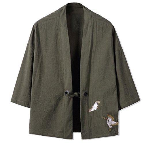Mirecoo Haori - Chaqueta de kimono para hombre, cuello en V verde XL