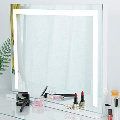 iCREAT Makeup Mirror with Lights, Hollywood Vanity Mirror, 3 Color Modes Lighted Mirror, Touch Screen Mirror, Tabletop or Wall-Mounted Mirror, White