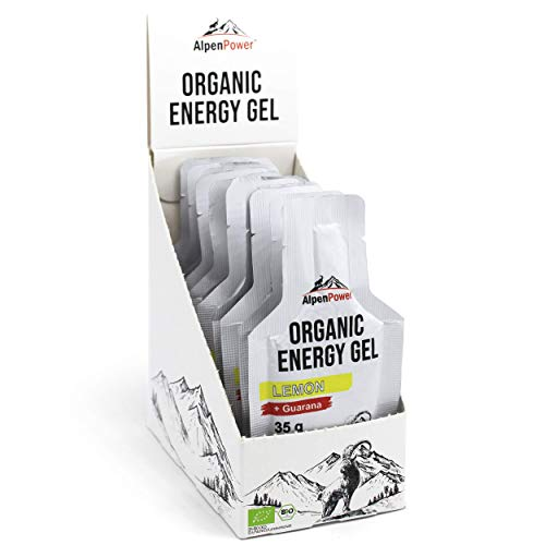 AlpenPower Bio Energy Gel Lemon 12x 35g I 100% natürliche Inhaltsstoffe I Mit Koffein aus Guarana I Schnelle & langanhaltende Energie I Ohne Zusätze I Ideal für Ausdauersport