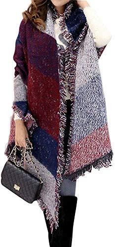 FENTI Damen Maedchen Langer Schal 250cm*65cm Deckenstoffschaln Schalcape Winter Schal mit Fransen und spitzen Enden XXL Rot und Blau