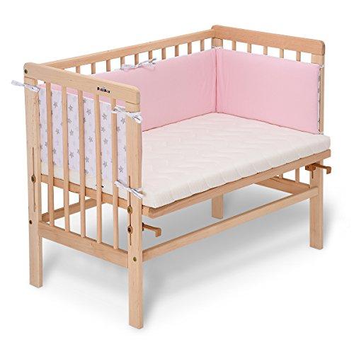 fabimax Emily–Cama Basic Natural, incluye colchón y protector de cuna rosa 04. Sterne klein/rosa Talla:mit Matratze CLASSIC