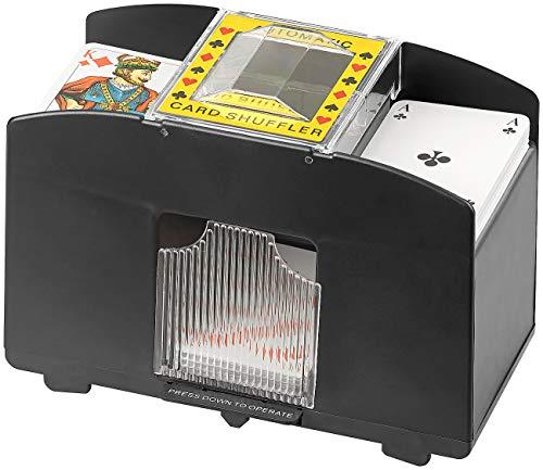 Unbekannt Grand Straight Royale Kartenmischgerät: Elektrische Kartenmisch-Maschine für 4 Decks á 54 Karten, schwarz (Kartenmischmaschine elektrisch)
