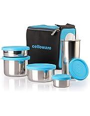 Cello Steelox Stainless Steel Lunch Box Combo 5-Piece, Blue, (Capacities - 50ml, 225ml, 375ml, 550ml, 375ml Tumbler)