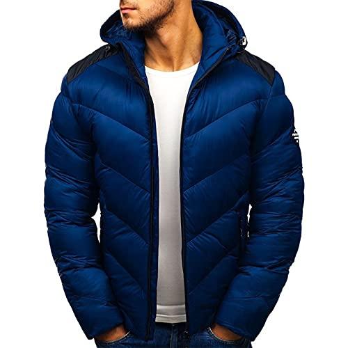 BIKETAFUWY Doudoune pour homme - Veste demi-saison légère avec capuche - Veste matelassée pour l'hiver et l'extérieur - Col montant - Veste fonctionnelle, bleu marine, XXXL