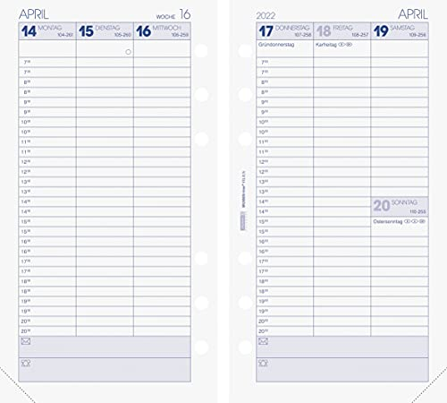 BRUNNEN 1074901002 Wochenkalendarium, Zeitplansysteme, 2022, 2 Seiten = 1 Woche, Blattgröße 9,3 x 17,2 cm
