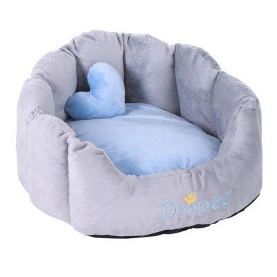Wangado - Letto per gatti e cani di piccola taglia. In soffice peluche, con cuscino double-face, extra cuscino a forma di cuore e scritta ricamata sul bordo.