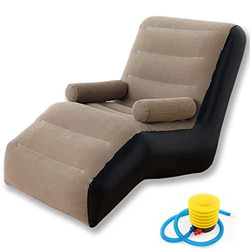 Sofá inflable perezoso, sofá en forma de S, silla de sofá de ocio al aire libre, camping al aire libre (Khaki)