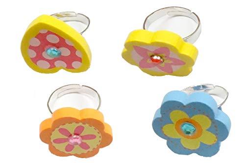 Bino 4 TLG. Set Holzschmuck Ringe Motiv Blume - 4 gleichgroße Fingerringe mit unterschiedlichen Blumen-Motiven