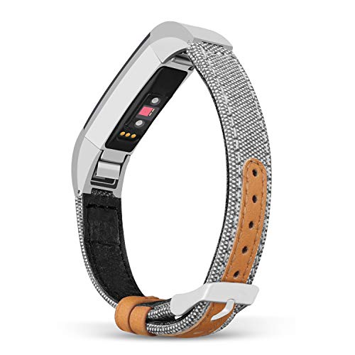 Jobese Compatible with Fitbit Alta/Alta Hr/Fitbit Ace Band, Soft Classic Canvas Fabric Straps with Genuine Leather Bands Men Women