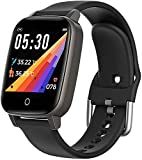 GideaTech Smart Watch with Body Temperature Monitor,Fitness Tracker Watch with Pedometer Heart Rate Blood Pressure Monitor Sleep Tracker,Black
