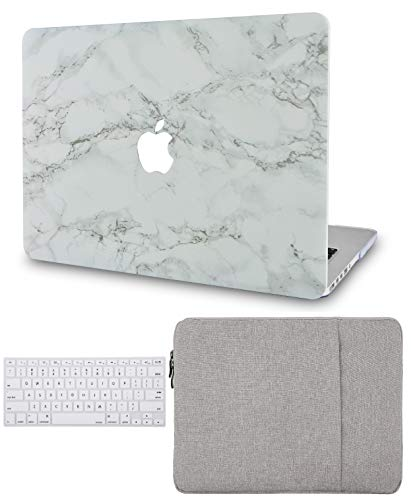 LuvCase3in1LaptopCaseforMacBookPro 15 Touch Bar (2016-2019) A1990/A1707Hard Shell Cover, Sleeve & Keyboard Cover (White Marble with Grey Veins)