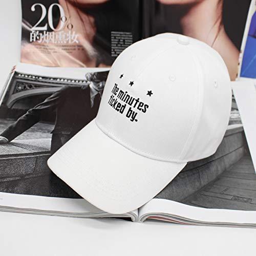 Stern Buchstaben Bestickt Baseballmütze Sonnencreme geschwungene Mützen Männer und Frauen Reisen Hip Hop Hut Flut weiß (60 cm oder mehr)