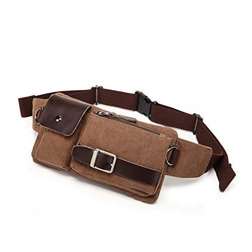 BAOSHA YB-01 Vintage Men's Waist Bag Sports Waist Pack Bum Bag Security Money Waist Day Pack Pouch Hip Belt Bag Bumbag Coffee