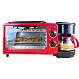 GTRHYTJH Compact Fast Breadmaker, Three-in-one Multi-Function Breakfast Machine Custom Mini Electric Oven Coffee Omelette Bread Toaster, 1050W Red (Color : Red)