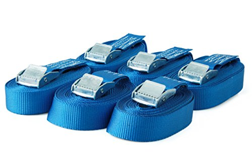 6 Spanngurte Zurrgurte mit Klemmschloss Klemmschlossgurt Befestigungsgurt Riemen, belastbar bis 250 kg, nach DIN EN 12195-2, Länge 3m Breite 25mm, einteilig, blau