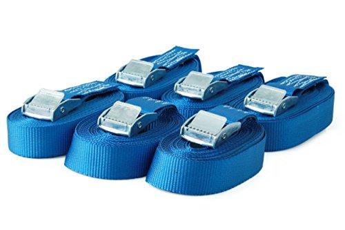 6 Spanngurte Zurrgurte mit Klemmschloss Klemmschlossgurt Befestigungsgurt Riemen, belastbar bis 250 kg, nach DIN EN 12195-2, Länge 4m Breite 25mm, einteilig, blau