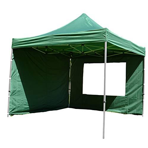 Nexos SM936152_SL01 Profi Faltpavillon Partyzelt Pavillon 3x3 m mit 4 Seitenteilen-hochwertige Ausführung-wasserdichtes Dach 270 g/m² + Tragetasche – Farbe: grün