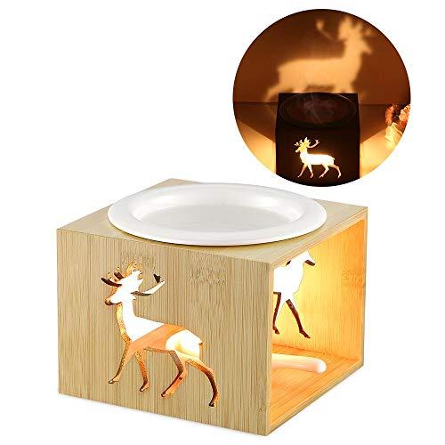 ecooe Brûleur à Huile Bambou Céramique Huile Essentielle Parfum Lampes Lampe de Parfum Chambre Bougie Aromathérapie Huiles Essentielles