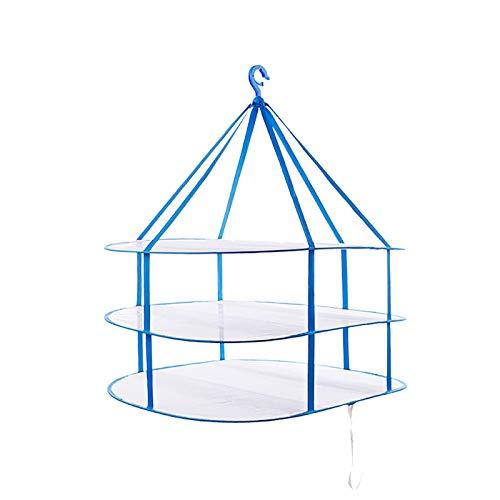 CHENSHJI Tendedero de Ropa de Malla Secadora Red 3 Capas Malla Plegable Secado Cesta De Secado Grueso para Ropa Interior para Exteriores Secado (Color : Azul, Size : 62x77x78cm)