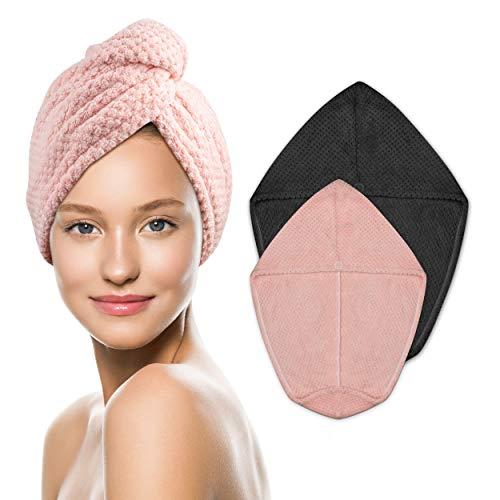 MASA XL Haarturban, Mikrofaser Haarturban in schöner Verpackung. mit 2 Set: Kopfhandtücher in 2 verschiedenen Größen 25*65 & 30*80cm , Handtuch für lange Haare schnell trocken. Inkl. Rezepte E-Book.