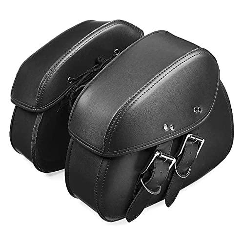 zhoufeng Par de PU Black/Brown PU Cuero Herramienta de Motocicleta Bolsa de Equipaje Saddlebags para H & Arley- Negro, Puede Aumentar la Estabilidad