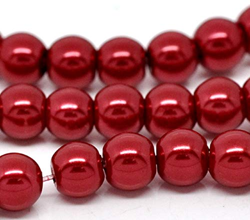 100 x 8mm Round Glass Pearl (RED) Beads for Jewellery Making with Holes Perfect for vase Filler. There are a Variety of Colours Available in This Range