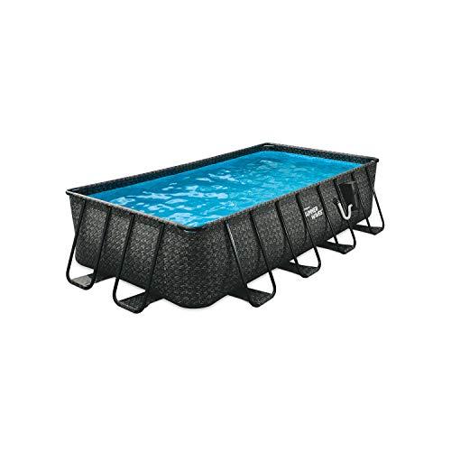 Summer Waves P41608421 16 x 8 Foot 42 Inch Deep Dark Herringbone Print Liner Elite Metal Frame Rectangular Above Ground Family Backyard Pool w/ SFX1000 SkimmerPlus Filter Pump & SureStep Ladder, Grey -  Polygroup