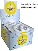 Maximum D3 10,000 IU Box, 60 Capsules Total (1 Box with 12 Cards x 5 Capsules per Card), 60-Weeks Supply