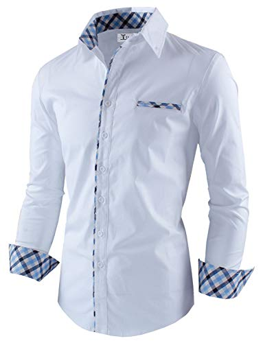Tom's Ware Mens Premium Casual Inner Contrast Dress Shirt TWNMS310S-1-WHITE-S