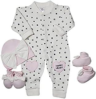papillon Bodysuit printed xo with hat&socks&gloves for girls newborn-white*pink