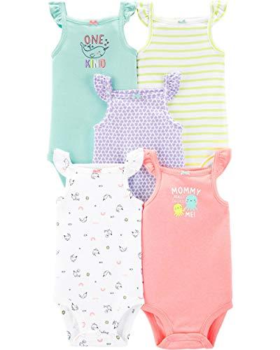 Carter's Baby Girls 5 Pack Bodysuit Set, Flutter Tank, 3 Months