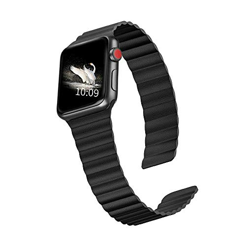 ILiBenQ Compatible for Apple Watch Band Leather Loop 44mm 42mm Black, Strong Magnetic Fadeless Painted Leather Replacement Strap Wristband for iWatch Series 5/4/3/2/1