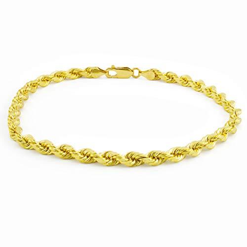 Nuragold 14k Yellow Gold 5mm Rope Chain Diamond Cut Bracelet, Mens Womens Lobster Lock 8' 8.5' 9'