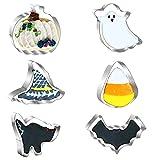 Set di 6 formine per biscotti di Halloween in acciaio inox – zucca, pipistrello, fantasma, caramelle, mais, cappello da strega, gatto, stampi in metallo per Halloween