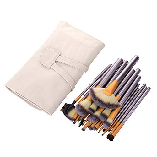 24 Pcs Maquillage Brosse Ensemble Fondation Blush Eyeliner Pinceaux À Lèvres Poudre avec Étui en Cuir Pinceaux De Maquillage Ensembles Cadeau pour Les Femmes